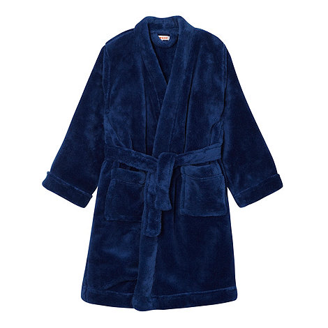 bluezoo - Boy+s dark blue fluffy dressing gown