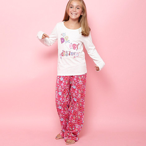 bluezoo - Girl+s cream and pink skull pyjamas