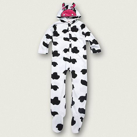 bluezoo - Girl+s white cow spotted fleeced onesie