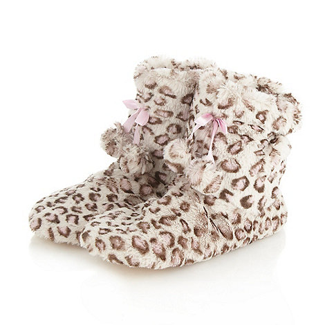 bluezoo - Girl+s natural leopard slipper boots