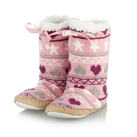 bluezoo - Girl+s white fairisle knitted slipper boots