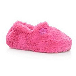 bluezoo - Girl's bright pink faux fur slippers