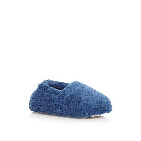 bluezoo - Boy+s dark blue fleece slippers