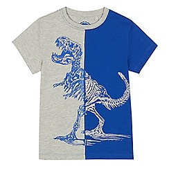 bluezoo - Boys' grey and blue colour block dinosaur print t-shirt