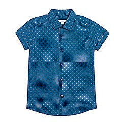bluezoo - Boys' dark turquoise geometric print short sleeved shirt
