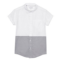 bluezoo - Boys' white and navy colour block granddad shirt