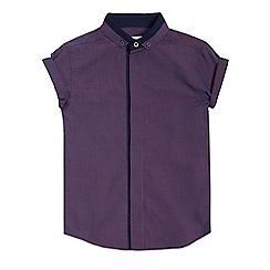bluezoo - Boys' purple cut and sew collar short sleeved shirt