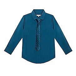 bluezoo - Boys' dark turquoise long sleeved shirt and tie set