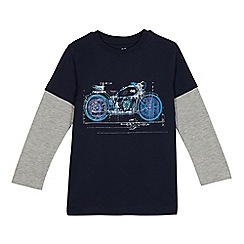 bluezoo - Boys' navy motorbike print mock top
