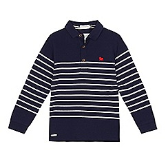 J by Jasper Conran - Boys' navy textured striped party polo shirt