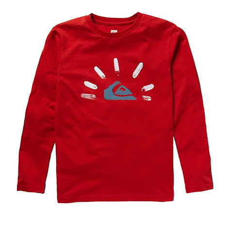 Quiksilver - Boy+s red logo long sleeve t-shirt
