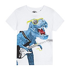 bluezoo - Boys' white dinosaur guitar print t-shirt