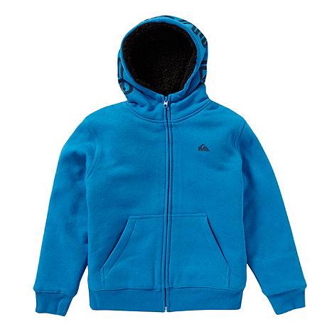 Quiksilver - Boy+s blue fleece lined zip through hoodie