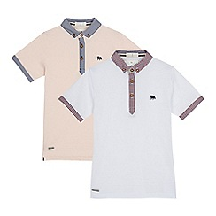J by Jasper Conran - Pack of two boys' light pink and white ribbed polo shirts