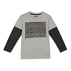 bluezoo - Boys' grey '#skate' print mock top