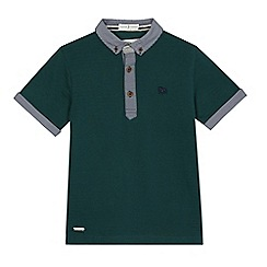 J by Jasper Conran - Boys' green gingham print trim polo shirt