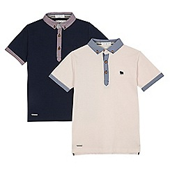 J by Jasper Conran - Pack of two boys' navy and light pink ribbed polo shirts
