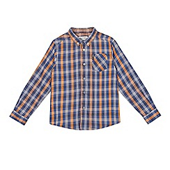 Ben Sherman - Boys' grey and orange checked shirt