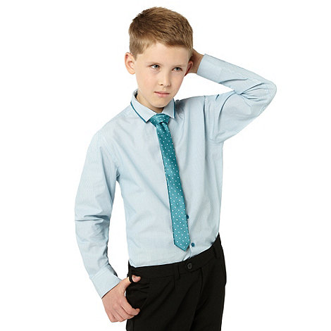 bluezoo - Boy+s blue striped shirt and tie set