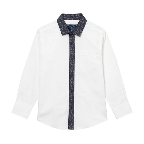 bluezoo - Boy+s white floral trim shirt