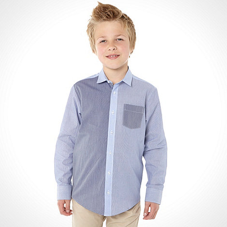 bluezoo - Boy+s blue mix and match long sleeved shirt