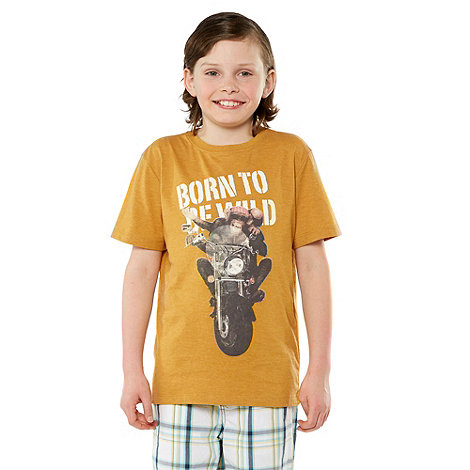 bluezoo - Boy+s mustard motorbike printed tee