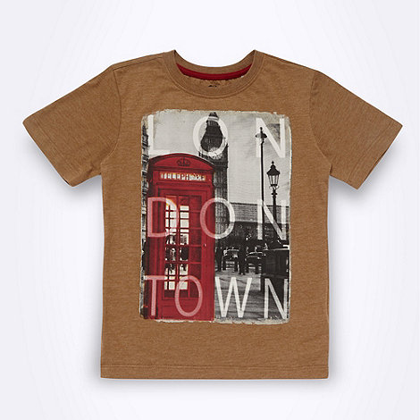 bluezoo - Boy+s brown London scene motif t-shirt