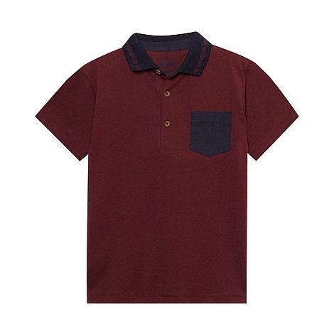 bluezoo - Boy's wine jacquard collar polo top