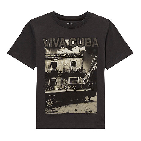 bluezoo - Boy+s black +Viva Cuba+ printed top
