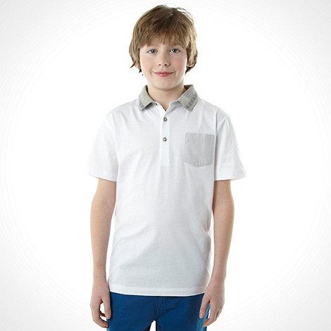 bluezoo - Boy+s white jacquard collar polo top