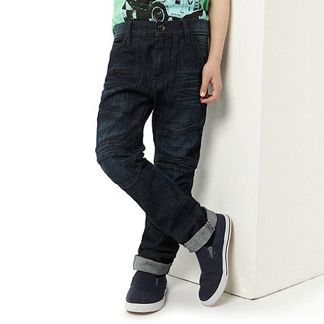 bluezoo - Boy+s dark blue knee patch fashion jeans