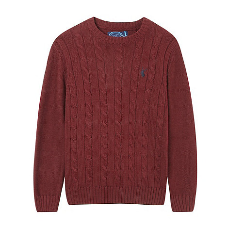 bluezoo - Boy+s wine red cable crew neck jumper