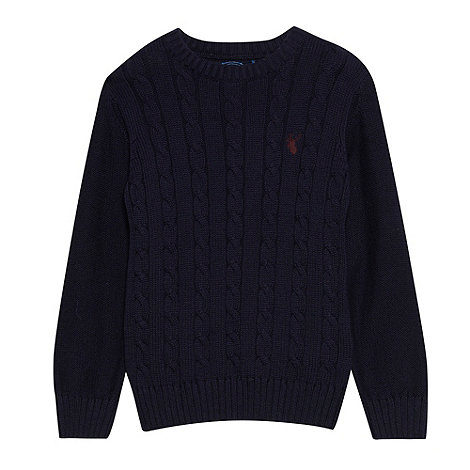bluezoo - Boy+s navy crew neck cable  sweater
