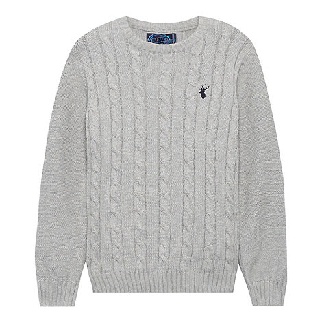 bluezoo - Boy+s grey cable crew neck jumper