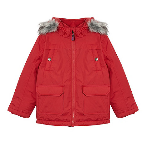 bluezoo - Boy+s red faux fur hooded jacket