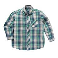 Boy's green multi checked shirt