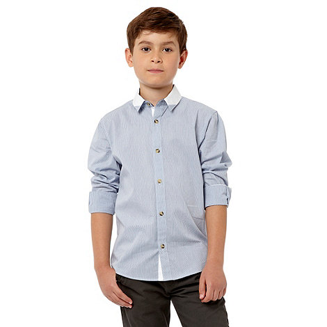 bluezoo - Boy+s blue cutsew collar shirt