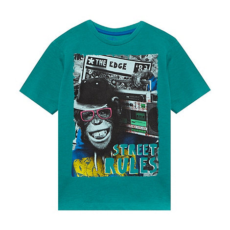 bluezoo - Boy+s green ghetto monkey printed t-shirt