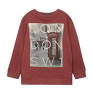 Boy's red London printed jumper