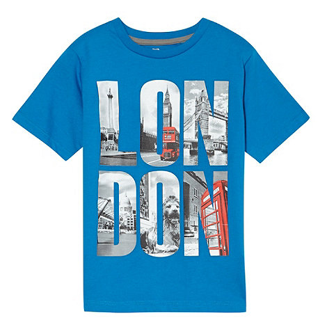 bluezoo - Boy+s blue London landscape printed t-shirt