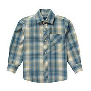 Boy's blue fine checked shirt