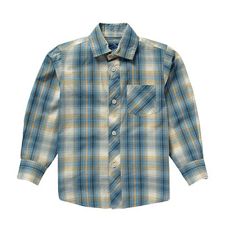 bluezoo - Boy+s blue fine checked shirt