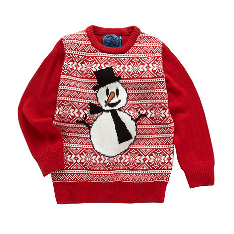 bluezoo - Boy+s red snowman jumper
