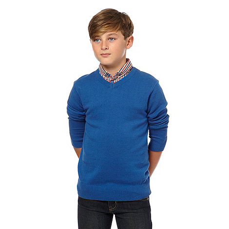 bluezoo - Boy's blue mockable collar jumper