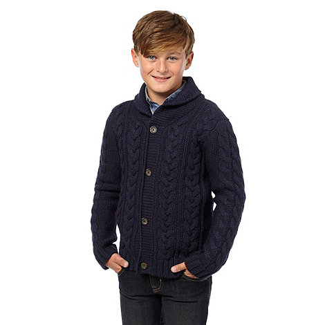 bluezoo - Boy+s navy cable shawl cardigan