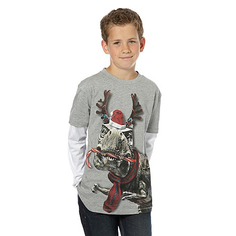 bluezoo - Boy+s grey festive dino top