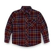 Boy's wine twill checked shirt