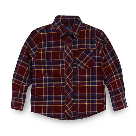 bluezoo - Boy+s wine twill checked shirt