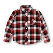 Boy's black twill checked shirt