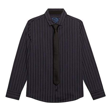 bluezoo - Boy+s purple striped shirt and tie set